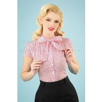50s Estelle Candy Heart Blouse In Pink And White