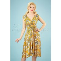 50s Jane Swing Dress In Yellow And White