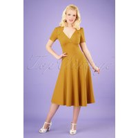 40s Vivienne Hollywood Circle Dress In Mustard