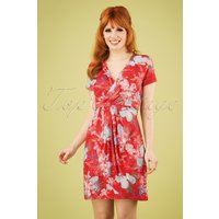 60s Okaina Floral Pencil Dress In Red