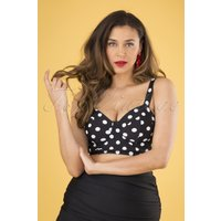 50s Marlene Polka Dot Crop Swim Top In Black