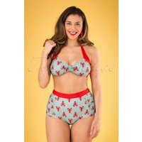 50s Lobster Bikini Pants In Sage Green And Red