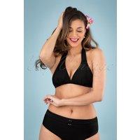 50s Glamour Halter Bikini Top In Black