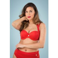 50s Multiway Bikini Top In Tropical Red