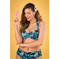 50s Multiway Bikini Top In Tropical Flowers