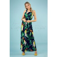 70s Cathy Parrot Jungle Maxi Dress In Navy