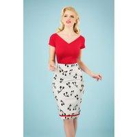 50s Cherry Pop Pencil Skirt In White