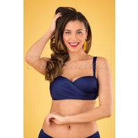 50s Aliyah Bikini Top In Deep Navy Blue