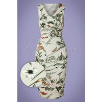 50s Janet Floral Pencil Dress In Pastel Green