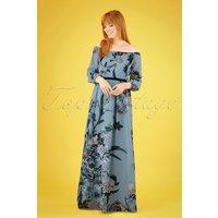 70s Rori Floral Maxi Dress In Blue