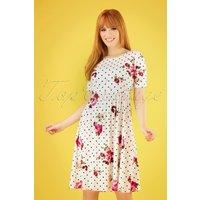 60s Natalie Polka Floral Dress In Ivory White