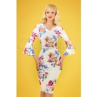 70s Emersyn Floral Pencil Dress In Ivory White