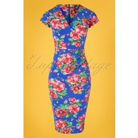 50s Gianna Floral Pencil Dress In Blue