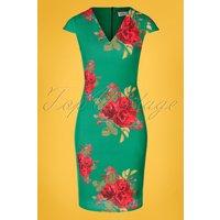 50s Lynda Floral Pencil Dress In Emerald Green