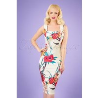50s Lara Floral Pencil Dress In White