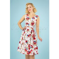 50s Camellia Floral Swing Dress In White