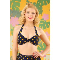 50s Classic Polkadot Bikini Top In Navy And Yellow
