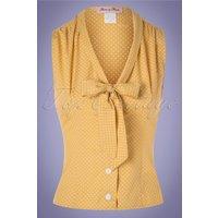 50s Elena Dot Blouse In Marigold Yellow