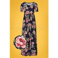 70s Miranda Floral Maxi Dress In Navy Blue