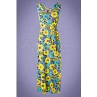 70s Fiori Floral Maxi Dress In Yellow And Turquoise