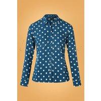 70s Rosie Polkadot Blouse In Autumn Blue