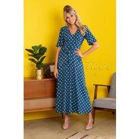 70s Shiloh Polkadot Maxi Dress In Autumn Blue