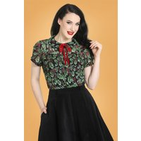 50s Holly Berry Blouse In Black