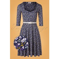 50s Briella Floral Swing Dress In Navy