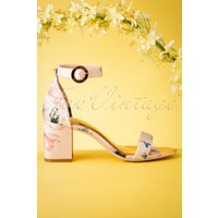60s Manyah Floral Satin Sandals In Light Pink