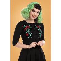 50s Lucy Dark Rose Cardigan In Black