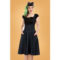 50s Alexa Blackwatch Check Swing Skirt In Blue And Green
