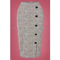 50s Carol Tweed Pencil Skirt In Grey Melange