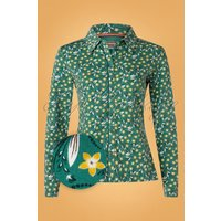 60s Food For Thot Blouse In Green