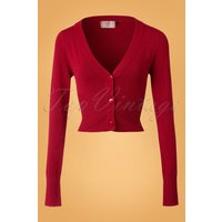 50s Lets Go Dancing Cardigan In Deep Red