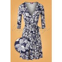 50s Whitney Floral Wrap Dress In Dark Blue