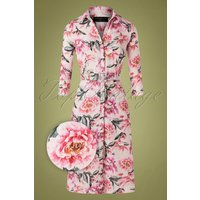 50s Marston Floral Shirt Dress In Blush