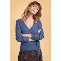 60s Fluffy Ajour Wrap Cardi In Moonlight Blue