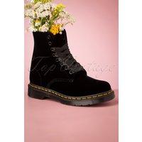 1460 Pascal Velvet Ankle Boots In Black