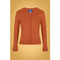 50s Serenity Cardigan In Burnt Orange