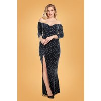 50s Anjelica Velvet Sparkle Maxi Dress In Charcoal