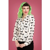 40s Luiza Meooow Blouse In White