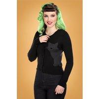 50s Jessie Midnight Cat Cardigan In Black