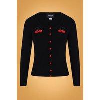 50s Jo Cherry Love Cardigan In Black
