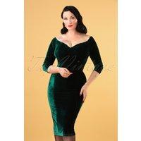 50s Anjelica Velvet Pencil Dress In Green