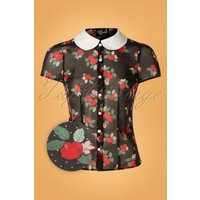50s Apple Blossom Blouse In Black