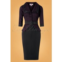 40s Capucine Lou Pencil Dress In Black And Plum Houndstooth