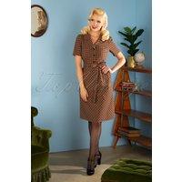 40s Revers Straight Skirt Dress In Nestor Check Beige