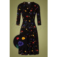60s Dulcie Painterly Floral Wrap Dress In Black
