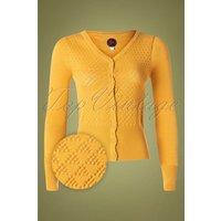60s Tutti Frutti Cardigan In Mustard Yellow