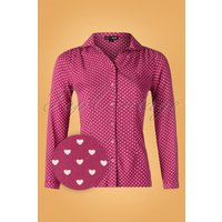 60s Gaby Hearts Blouse In Raspberry